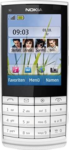 Nokia X3-02.5 Handy (6,1 cm (2,4 Zoll) Display, 5 Megapixel Kamera, Touch and Type) weiß/silber