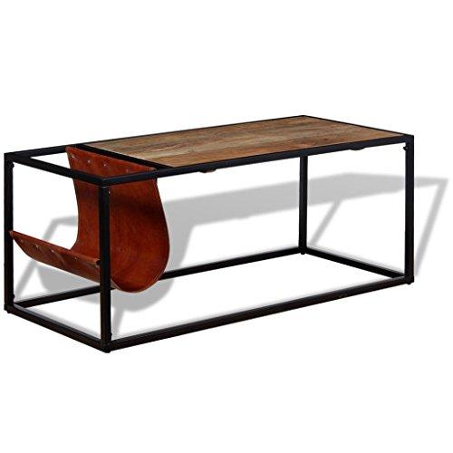 Festnight Table Basse avec Porte-Revues Cuir 100% Véritable 110 x 50 x 45 cm