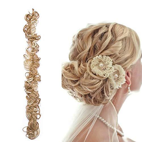 Extension chignon elastico updo capelli lunghi ricci sintetici hair scrunchies wrap bun & coda di cavallo extension messy curly diy 85g - biondo scuro mix biondo chiarissimo