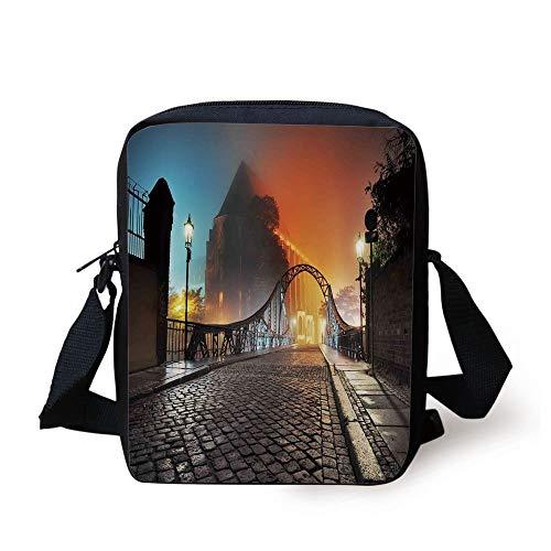 Landscape,Modern City Bridge at Night with Mystical Lights Illumination Sightseeing Urban,Grey Orange Print Kids Crossbody Messenger Bag Purse (Bridge City Bulk)