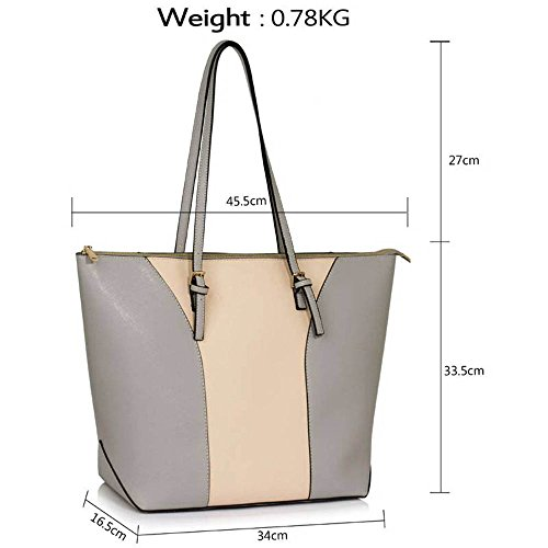 TrendStar Handtasche der Frauen faux Leder Damen Große Entwerfer-Taschen-Umhängetasche Grau/Nude