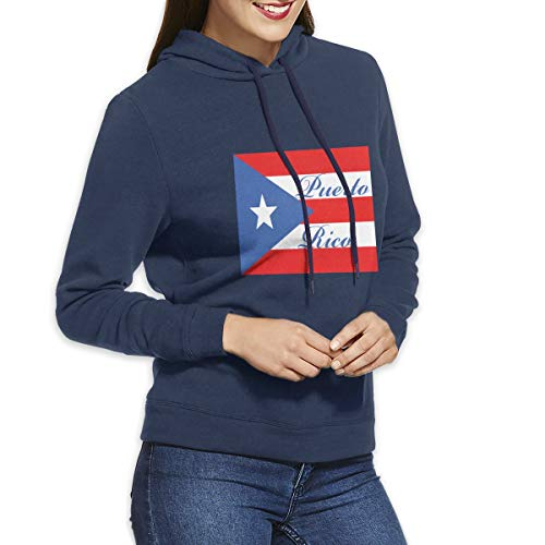 Eamibay Puerto Rico Long Sleeve Women's Hoodie Sweatshirt Drawstring Hooded Pullover Tops Blouses Navy L