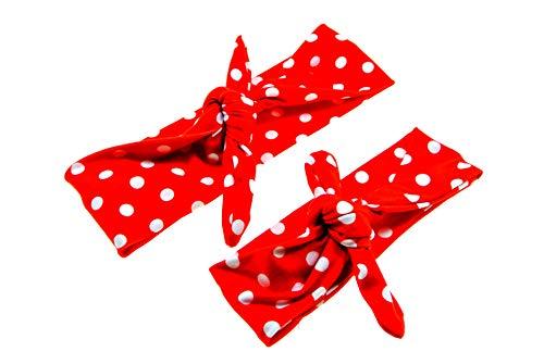 clarigo Haarband Stirnband Mutter und Kind Headband Hairband Haarschmuck Polka dots gepunktet rot weiß Haarspange Haargummi
