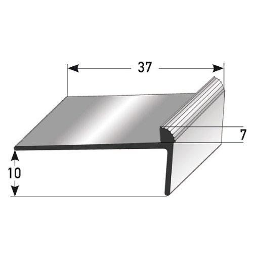 50 metri (50 x 1 m) Profilo per gradini / angolare (10 x 37 x 7 mm) alluminio anodizzato, forato, bronzo