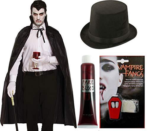 Top Lincoln Kostüm Hut - labreeze Erwachsene Umhang Vampirzähne Fake Blood Lincoln Top Hut Halloween Party Kostüm