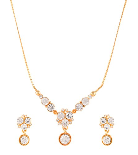 Estelle Gold plated Cz & American Daimond[AD]Simple Fancy Western Wedding Designer Necklace Jewellery Set For Women & Girls|Artificial Stylish Modern Trendy Unique-Party wear Latest Design Neckless in 1 Gram Gold Jewelry-White Stone in Long Chain.  available at amazon for Rs.999