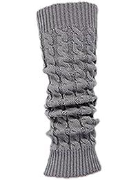 TOOGOO(R)Calcetin Leotardo Calentadores de pierna Cubierta de bota tejida de ganchillo de invierno de mujeres gris claro