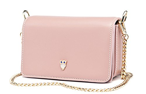 Xinmaoyuan Borse donna pu femmina catena borsa tracolla messenger quadrato piccolo sacchetto,Rosa Rosa