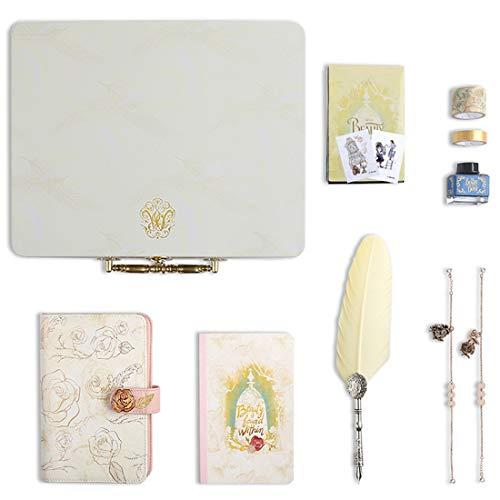 METTE Vintage Quill Pen Set, mit Lesezeichen und Handbuch, Exquisite Eisenkasten und Tinte, Schönheit und das Biest-Handbuch-Geschenk-Set, Kinder