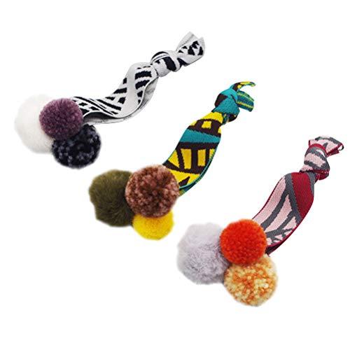 Lurrose 3pcs Elastische Haarbänder Haarseil Haargummis mit Bommel Mädchen Pferdeschwanz Inhaber