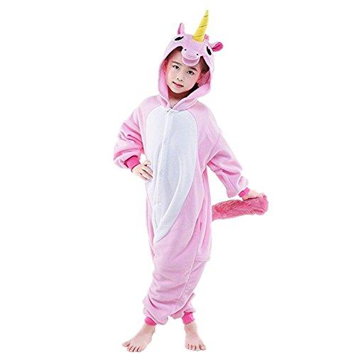 Einhorn Einteiler Kind Kinder Tier Pyjama Outfit Halloween-Kostüm XS rose