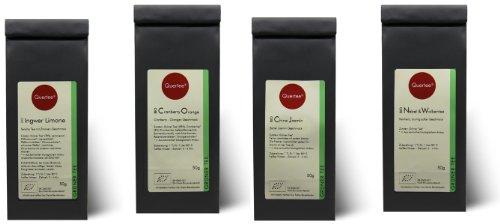 Grüntee Probierset Biotee Quertee® Nr. 4-4 x 50g Bio Tee -Grüntee Fan das Grüner Tee Geschenk Set