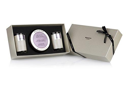 BAHOMA Lavender Veil Bath Salts und Two Travel Candle Gift Set, 1er Pack (1 x 0.88 kg) (Bath Scented Rose Set)