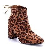 Schuhtempel24 Damen Schuhe Klassische Stiefeletten Stiefel Boots Camel Blockabsatz schlupf/Leo 8 cm