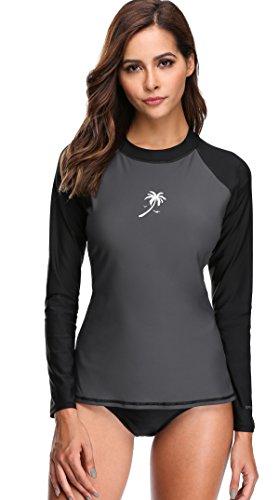 Attraco Damen Badeshirt UV-Schutz Schwimmshirts Langarm Shirt Rashgaurd Oberteil UPF 50+ Farbe: Grau-Schwarz, Gr. L (Langarm-shirt Grau)
