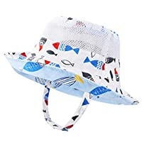 VBIGER Kids Cotton Bucket Hat Reversible Sun Hat Foldable Beach Cap with Adjustable Chin Strap,Aged 1-6 (54cm(Aged 4-6), Blue 3)