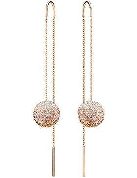 Swarovski Damen-Durchzieh Ohrringe Edelstahl Kristall transparent Rundschliff-5238110