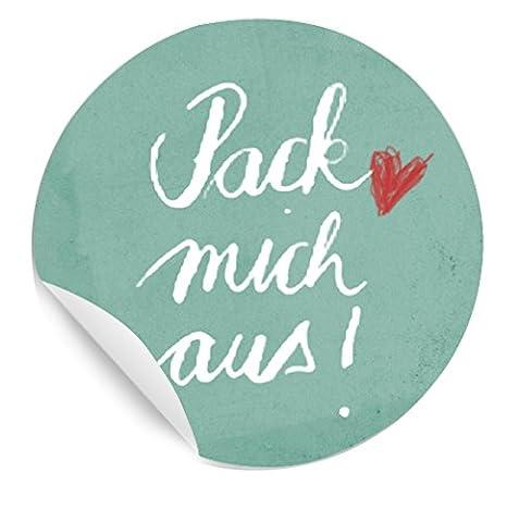 24 Aufkleber: Pack mich aus! ♥ 24 Sticker Geschenkaufkleber, schöne