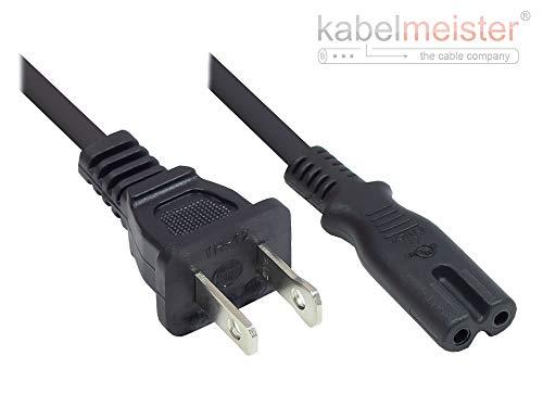 Kabelmeister Netzkabel - 1,8 m - Amerika/USA Netz-Stecker Typ A (NEMA 1-15P) an C7 / Euro 8 Buchse (gerade) - UL Zertifiziert - AWG18 - SCHWARZ - Qualitätware vom KABELMEISTER -