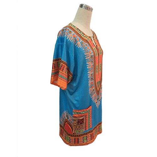 Robe Femmes,Fulltime® Femmes manches courtes africaine Imprimer Hauts Casual Kaftan Robe droite Bleu