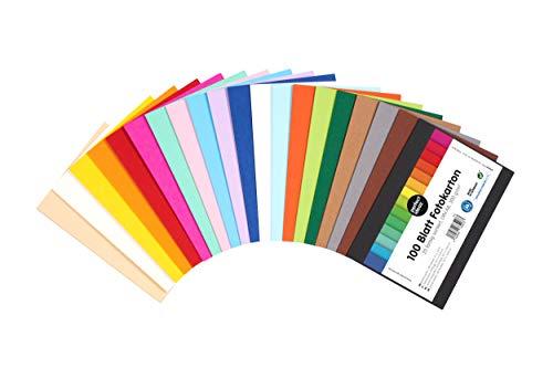 perfect ideaz 100 Blatt DIN-A6 Foto-Karton bunt, Bastel-Papier, Bogen durchgefärbt, 20 verschiedene Farben, 300g, Ton-Zeichen-Pappe zum Basteln, buntes Blätter-Set farbig, DIY-Bedarf für Post-Karten -