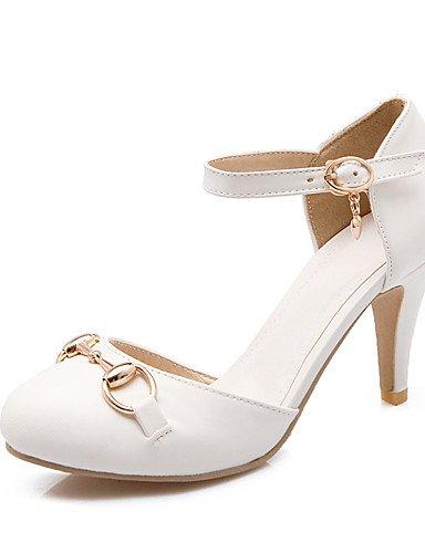 WSS 2016 Chaussures Femme-Habillé-Noir / Rose / Blanc / Amande-Talon Aiguille-Talons / Bout Ouvert-Talons-Similicuir black-us5.5 / eu36 / uk3.5 / cn35