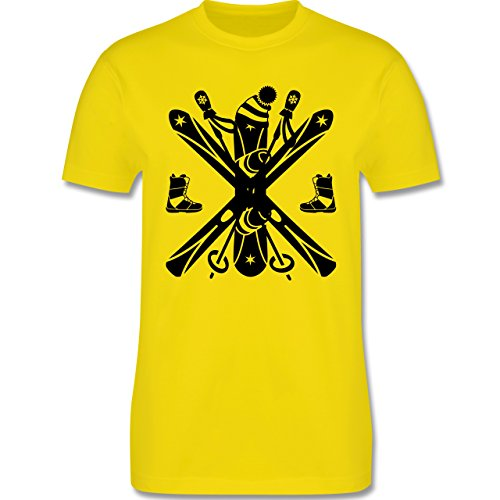 Wintersport - Ski Snowboard Wintersport - Herren Premium T-Shirt Lemon Gelb