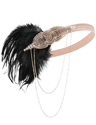 Kayamiya Damen Vintage 1920er Flapper Stirnband Wulstig Feder Art Deco Inspiriert Gatsby Kopfschmuck Champagne
