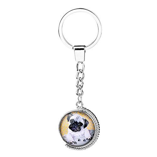 Fengteng Mops Hund Schlüsselanhänger Drehen Pfote Hundkopf mit Teetasse Schlüsselrund Zeit Glas...