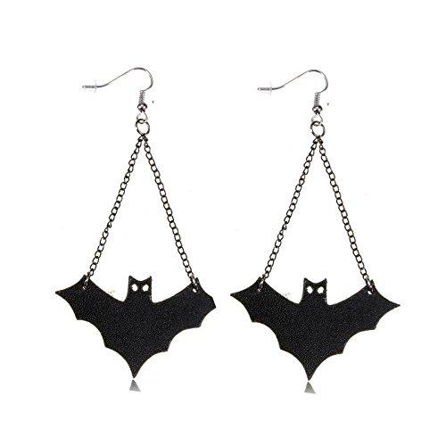 Punk Black Leather Bat Dangle Drop Pendente Pendant Orecchini EarRing Anello Per (Argento Bat Anello)