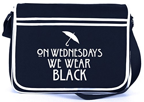 Shirtstreet24, AHS - On Wednesdays, Retro Messenger Bag Kuriertasche Umhängetasche Navy