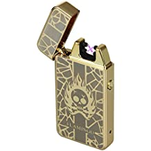 Kivors® Skull Electronic Lighter Portable USB Rechargeable Dual Light Arch Gold