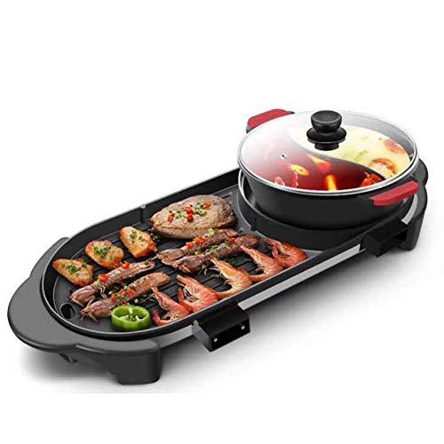 KPLMⓇ BBQ - Der elektrische koreanische BBQ-Grill und Hot-Pot-Tischgrill und Fondue, Haushalts-Multifunktions-Elektro-Hot-Pot-Grill Shabu-shabu [Energieklasse A] (Non-stick-grill-wok)