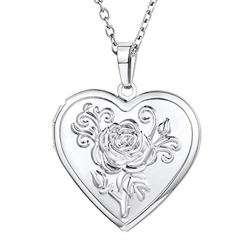 U7 Blume Herz Anhänger Halskette für Damen Mädchen Weißgold überzogend Herz Medaillon zum Öffnen Photo Bilder Amulett Herzanhänger Geschenk für Valentinstag Muttertag(Silber) (Silber Medaillon Herz)