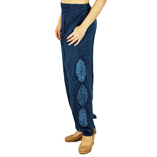Casual Boho Gypsy Harem Aladdin Yoga Pants Pantalons femmes Bleu marin