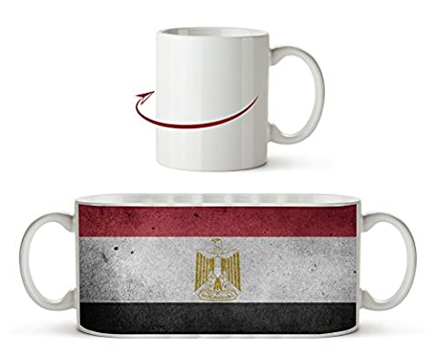 Ägyptische Flagge als Motivetasse 300ml, aus Keramik weiß, wunderbar als Geschenkidee oder ihre neue Lieblingstasse.