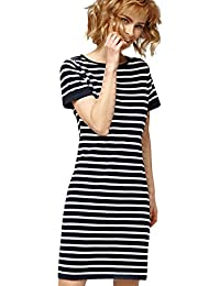 Misfit London Daisy' Nautical Navy & White Stripe Jersey T-Shirt Dress