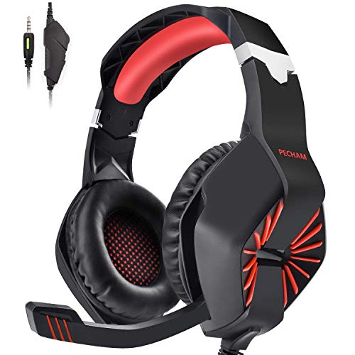 INSMART PS4 Headset, PC Gaming Headset Also for Xbox One, Nintendo Switch, Laptop, Smartphone und Mehr - 3,5mm Noise Cancelling Gaming Kopfhörer mit Mikrofon, Surround Sound