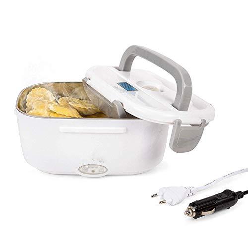 NiLeFo Lunch Box Elettrico 2 in 1 per Auto e Lavoro Tarter Elettrico 220V e 12V scaldavivande Elettrico in Acciaio Inox con Due comparti e Cucchiaio (Grigio)