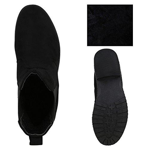 Moderne Damen Stiefeletten Chelsea Boots Stiefel Schwarz