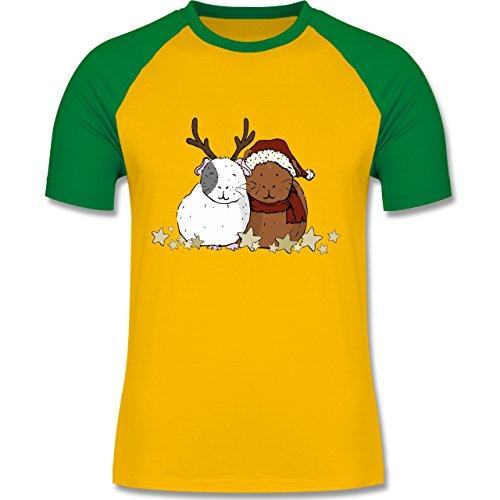 Weihnachten & Silvester - Weihnachtliche Meerschweinchen - zweifarbiges Baseballshirt für Männer Gelb/Grün
