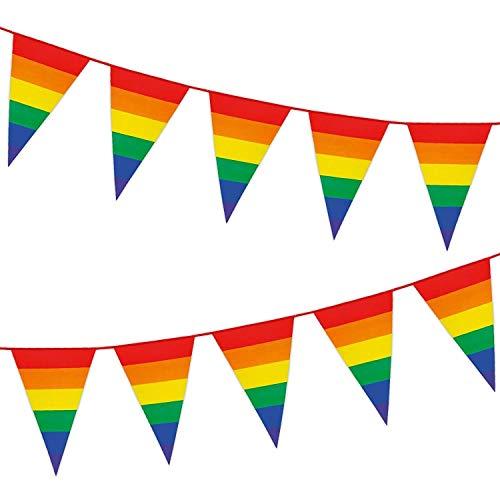 B-Creative Faschingskostüm VIP 8m gestreift Regenbogenwimpel Wimpelkette Gay Pride bunt Überraschung Geburtstag Party Feier Picknick Dekoration Girlande Flagge