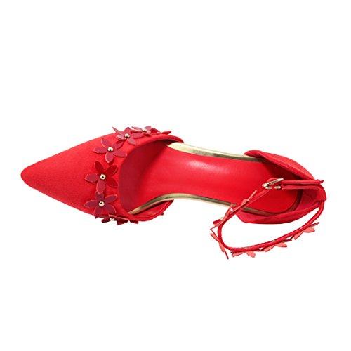 AIYOUMEI Damen Wildleder Spitz Stiletto High Heels Pumps mit 8cm Absatz und Blumen Abend Modern Schuhe Rot