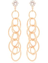 Om Jewells Rose Gold Plated Fancy Circular Link Crystal Dangler Earrings For Girls And Women ER1000086