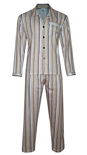 Herren Schlafanzug, Pyjama gestreift 100% Baumwolle-Braun-XL (Braun Herren-pyjama)