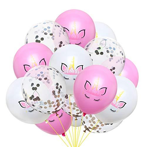 EVEYYQIU Die neuesten 12-Zoll-Einhorn Pailletten Konfetti Latex Ballon Set Geburtstagsfeier Dekoration, 5 weiß + 5 Pulver + 5 Silber Konfetti Paket 2 -