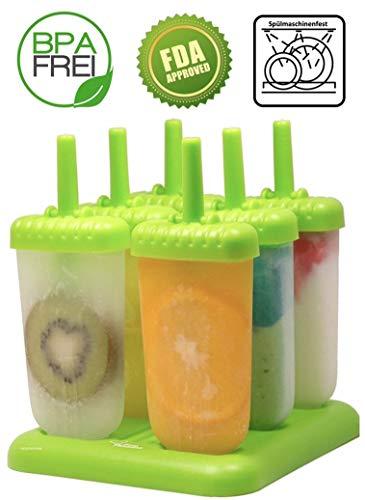 KohlerLD EIS am Stiel Set 6 STK. Eisformen - BPA frei und FDA lebensmittelzertifiziert - zum EIS am Stiel selber Machen für Kinder Popsicle Formen