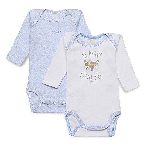 ESPRIT Unisex Baby Body RJ60010, 2er Pack, Einfarbig, Gr. 68, Weiß (WHITE 010)