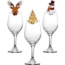 30 Piezas de Tarjetas de Copa Decoraciones de Copa de Vino de Navidad Adornos de Mesa