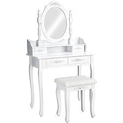 TecTake Coiffeuse Meuble Table de Maquillage Miroir + Tabouret   4 tiroirs   Blanc